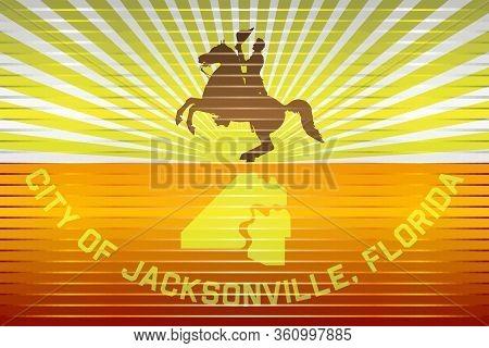 Shiny Grunge Flag Of The Jacksonville - Illustration,  Three Dimensional Flag Of Jacksonville