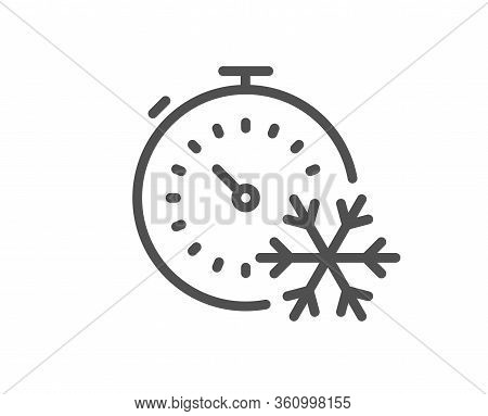 Freezing Timer Line Icon. Ac Cold Temperature Sign. Fridge Function Symbol. Quality Design Element.