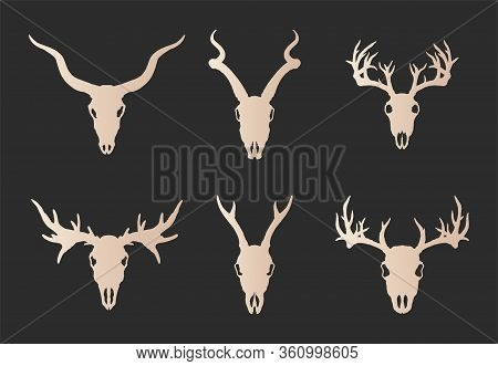 Vector Set Of Six Hand Drawn Gold Silhouettes Skulls Of Horned Animals: Stag, Roe Deer, Moose And An