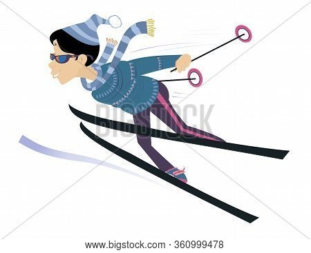 Downhill Skier Woman Illustration. Woman Skier Isolated On White