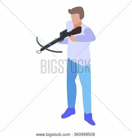 Crossbow Shooter Icon. Isometric Of Crossbow Shooter Vector Icon For Web Design Isolated On White Ba