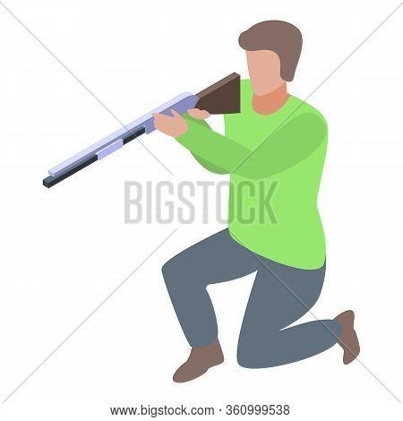 Shotgun Shooter Icon. Isometric Of Shotgun Shooter Vector Icon For Web Design Isolated On White Back