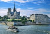 "Panorama of Cite island with cathedral ""Notre Dame de Paris"" in Paris France. poster"