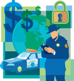 Collage Of Dollar Signs; An Unlocked Padlock; A Police Officer Writing A Ticket; The World; And A Po