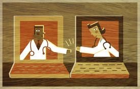 Two Doctors In Different Lap Top Screens High Fiving Each Other