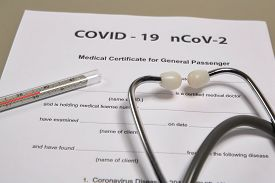 Medicine Documents With Stethoscope And Thermometer On It. Health Care And Medical Concept, Covid-19