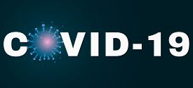 Covid 19 Text Banner. 3d Microbe With Blue Light Effect. Medical Banner. Sign And Symbol. Pathogen O
