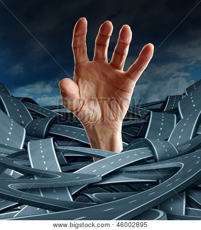 Direction despair as a business concept to free yourself from confusion and management problems with an opened human hand reaching for freedom from a group of confused rads and highways. poster