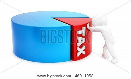 man pushing tax slice