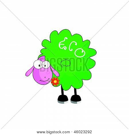 eco sheep cartoon with flower vector illustration poster