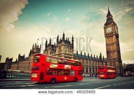 London, the UK. Red bus in motion and Big Ben, the Palace of Westminster. The icons of England in vintage, retro style poster