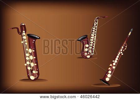 Three Retro Saxophone On Dark Brown Background