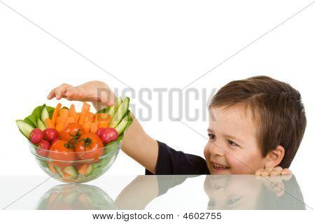 Happy Boy Stealing Vegetables