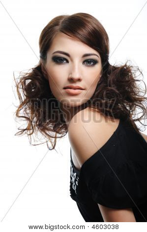 Fashion Model With Brown Curly Hairs