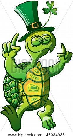 St Patrick's Day Turtle Celebrating