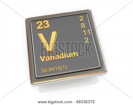Vanadio. Elemento químico. 3D