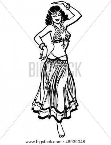 Belly Dancer - Retro Clip Art Illustration