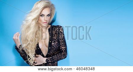 Attractive Young Woman With Magnificent Blond Hair.