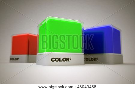 Blocks of RGB basic printing colors; red, green and blue