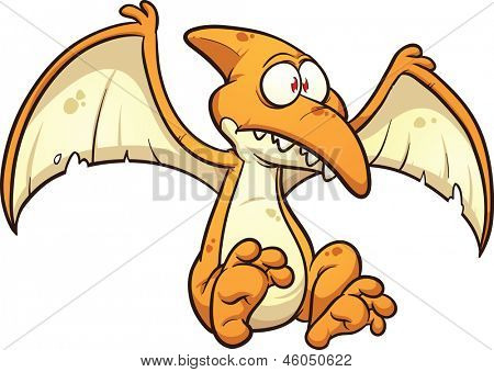 Cartoon pterodactyl. Vector clip art illustration with simple gradients. All in a single layer.