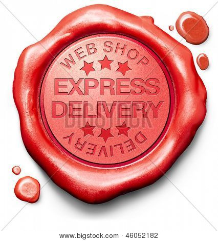 express delivery webshop order shipping online shopping product from internet web shop package shipping red wax seal stamp icon or label