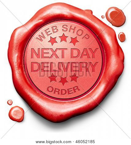 next day delivery webshop order shipping online shopping product from internet web shop package shipping red wax seal stamp icon or label