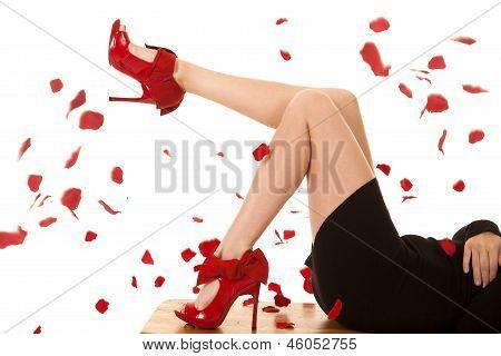Black Dress Red Heels Roses Legs