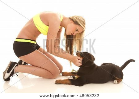 Woman Workout Clothes With Dog