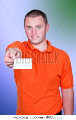 Man Holding Blank Business Card