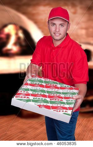 Boy Delivering A Pizza Box