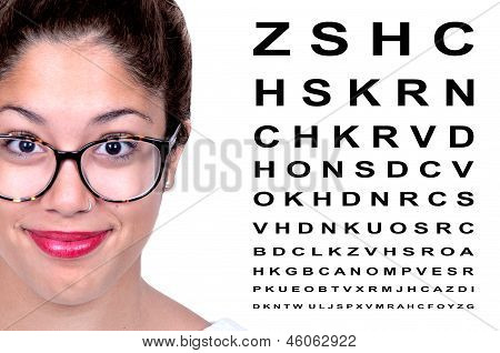 Beautiful Woman With Glasses With  Eye Test Chart