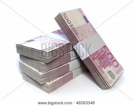 Euro Bill Pile Perspective