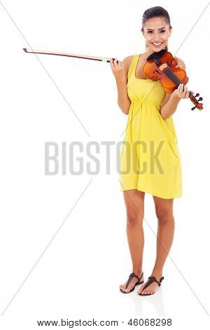 beautiful musician with violin on white background