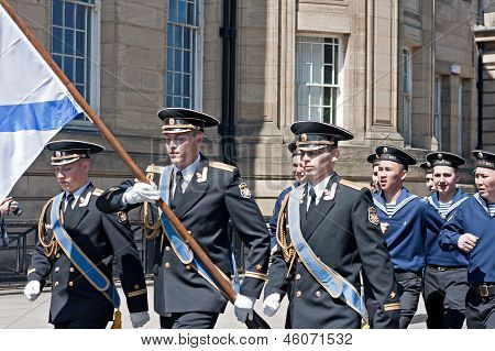 Russian Seamen Marching Through Liverpool