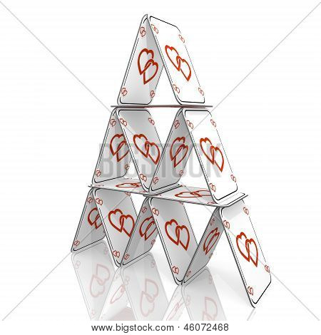 3d graphic of a fragile two hearts icon  on a card house