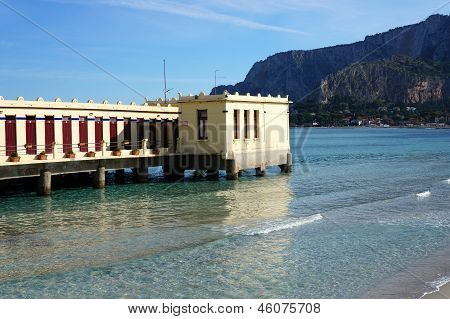 Building On The Water At Mondello Beach, Palermo Sicily