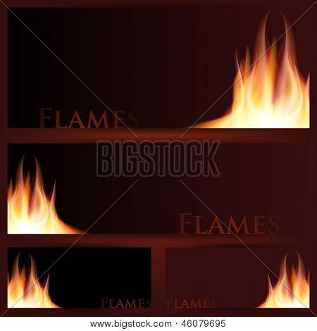 Vector of fire frames on black background