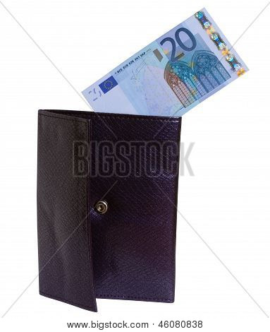Twenty Euro Banknote In The Leather Wallet