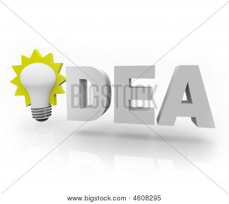 Idea Word With Light Bulb