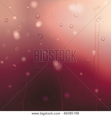Window Glass in red and purple sunset rain