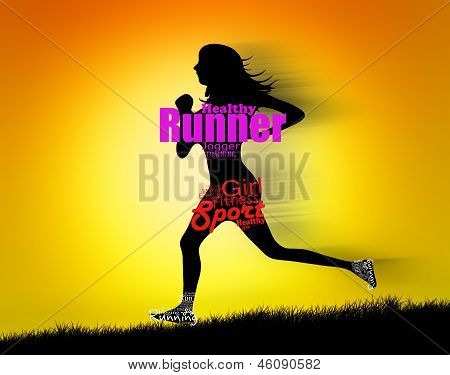 Silhouette of woman running with text design