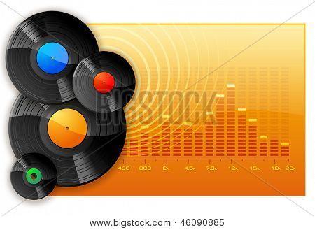 Vinyl DJ Disks on spectrum graphic analyzer background