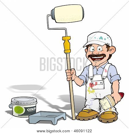 Cartoon illustration of a handyman - Painter standing by a paint bucket & a paint tray holding a paint roller. poster