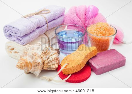 Body Care Accessories: Towels, Sea Salt, Soap, Pumice Stone, Oil
