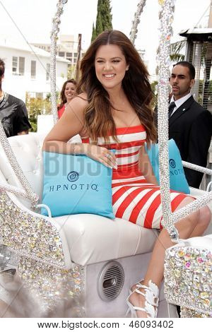 LOS ANGELES - MAY 22:  Khloe Kardashian Odom at the Khloe Kardashian Odom's HPNOTIQ Glam Louder Program Launch at the Mr C on May 22, 2013 in Beverly Hills, CA