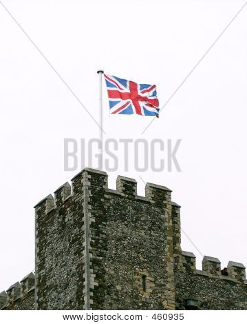 British Flag On Castle