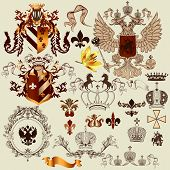 Vector set of luxury royal vintage elements  your heraldic design poster