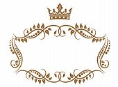 Royal medieval frame with crown isolated on white background poster