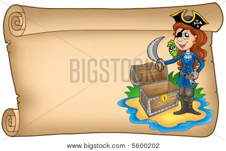 Old Scroll With Pirate Girl
