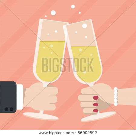 Married couple toasting